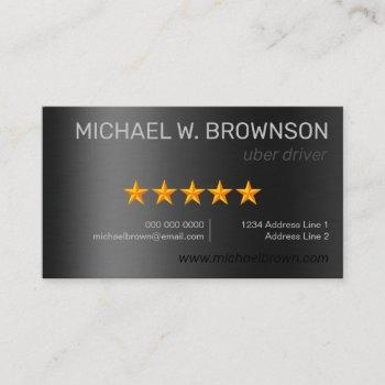 metallic gray silver minimal driver uber business card