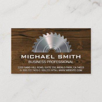 metallic lumber saw | wood panel business card