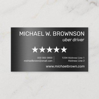 metallic uber minimal driver business card