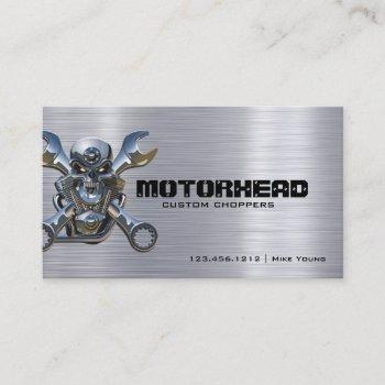 metalwork skull and wrench on brushed aluminum business card