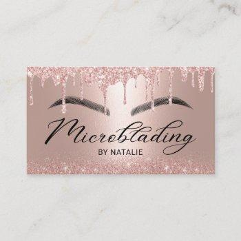 microblading rose gold glitter drips typography business card
