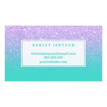 Small Microblading Typography Faux Lavender Glitter Business Card Back View