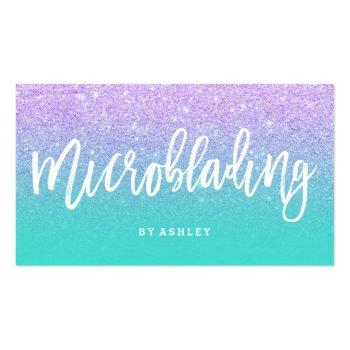 Small Microblading Typography Faux Lavender Glitter Business Card Front View