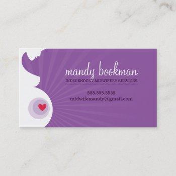 midwife doula card pregnant belly heart purple