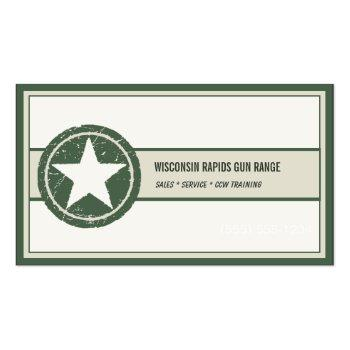 Small Military Style Patriotic Star Grunge Logo Business Card Front View