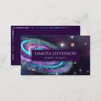 milky way galaxy   cosmic blue purple pink glow business card