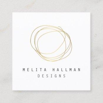 minimal and modern designer scribble logo in gold square business card