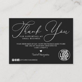 minimal black white script customer thank you business card