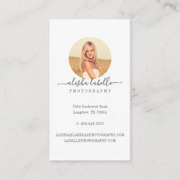 minimal circle photo frame business card