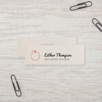 minimal cool beige red apple teacher mini business card
