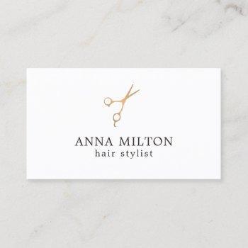minimal elegant faux gold scissor hair stylist business card