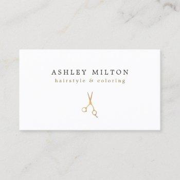 minimal elegant faux gold scissors hair stylist business card