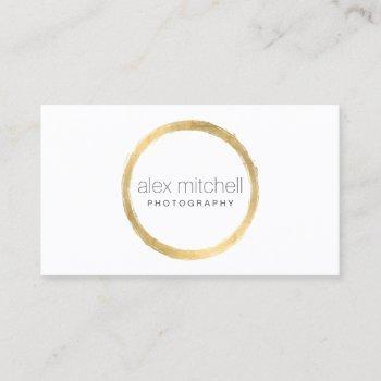 minimal faux gold brushstroke circle photographer business card