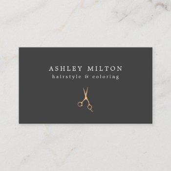 minimal grey faux gold scissors hair stylist business card
