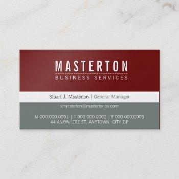 minimal plain simple corporate maroon red grey business card