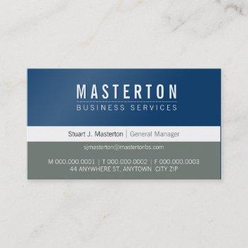 minimal plain simple corporate royal blue grey business card