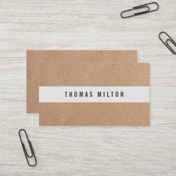 minimal printed kraft light grey stripe consultant business card