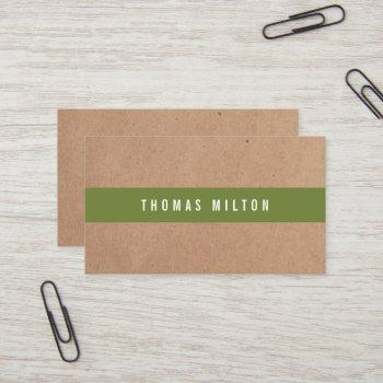 minimal printed kraft olivegreen stripe consultant business card