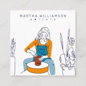 minimal yellow blue woman illustration pottery square business card
