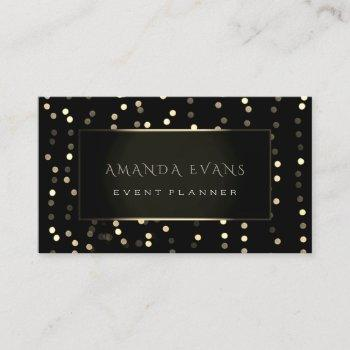 minimalism beauty black framed golden confetti business card
