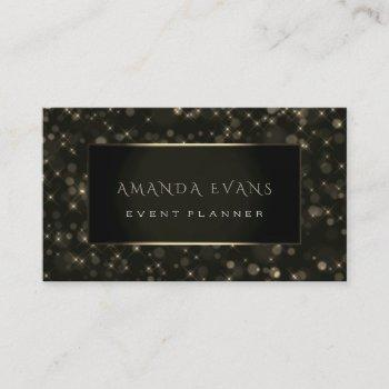 minimalism beauty black framed golden spark sepia business card