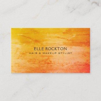 minimalist 1974 sunset orange yellow business card