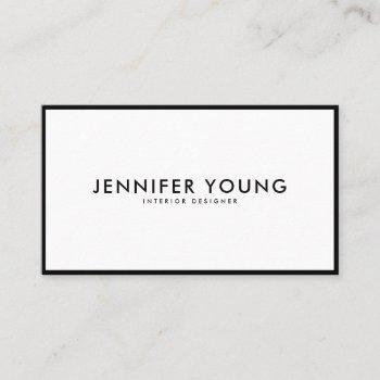 minimalist black and white modern professional business card