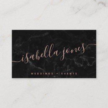 minimalist black marble rose gold signature script business card