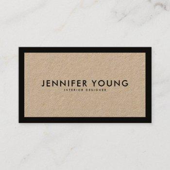 minimalist black modern professional brown kraft business card