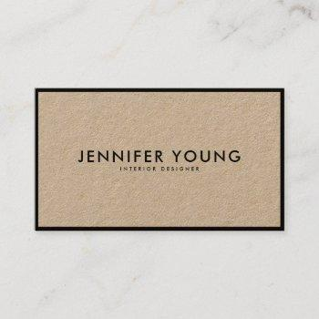 minimalist black modern professional brown kraft business card