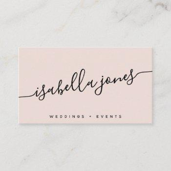 minimalist blush pink professional luxe script business card