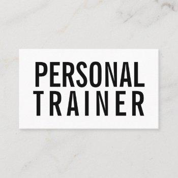 minimalist bold black and white personal trainer business card