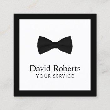 minimalist elegant black bow tie modern square business card