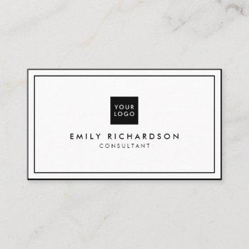 minimalist elegant black white professional logo business card