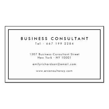 Small Minimalist Elegant Black White Professional Logo Business Card Back View
