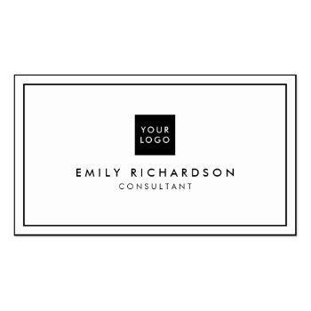 Small Minimalist Elegant Black White Professional Logo Business Card Front View
