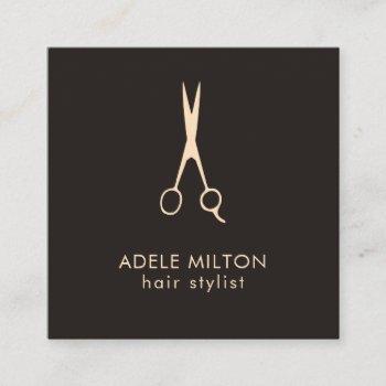minimalist elegant dark rose scissor hairstylist square business card