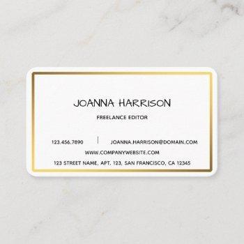 minimalist elegant modern shiny gold frame editor business card