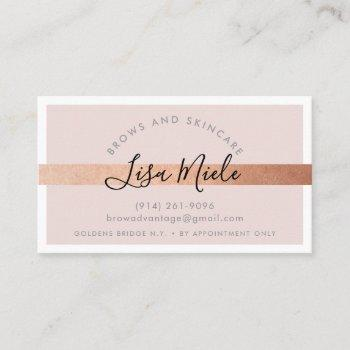 minimalist elegant rose gold stripe blush pink business card
