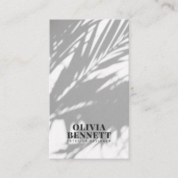 minimalist elegant white modern interior designer business card