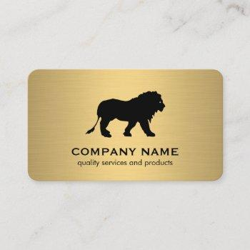 minimalist faux gold metallic / lion icon business card