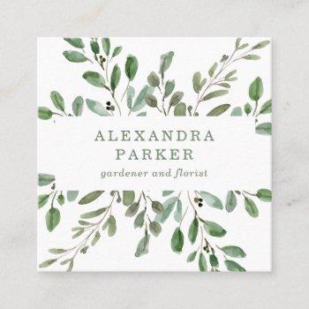 minimalist foliage square business card