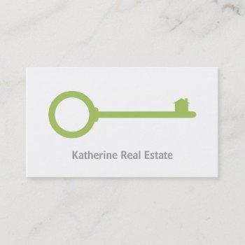 minimalist green key realtor business cards