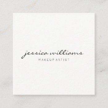 minimalist handwritten modern professional white square business card