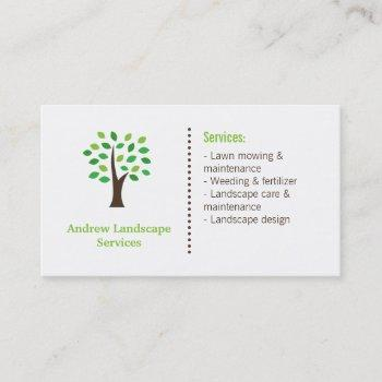 minimalist landscaping services green tree leaves business card