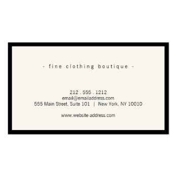Small Minimalist Luxury Boutique Black/ivory Business Card Back View