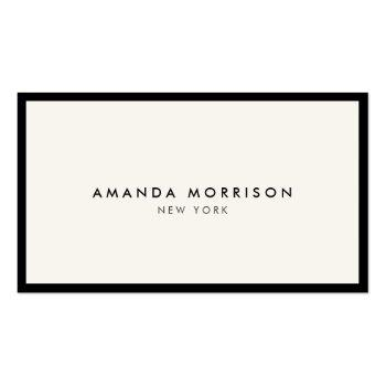 Small Minimalist Luxury Boutique Black/ivory Business Card Front View