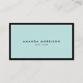 minimalist luxury boutique black/mint business card
