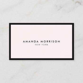 minimalist luxury boutique black/pastel pink business card