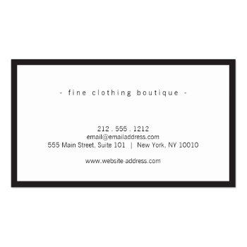 Small Minimalist Luxury Boutique Black/white Business Card Back View